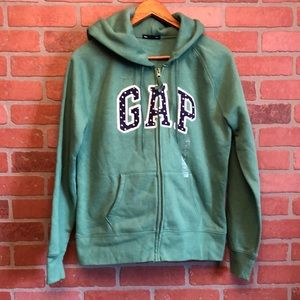GAP spell out hoodie full zip M green jacket (Y)